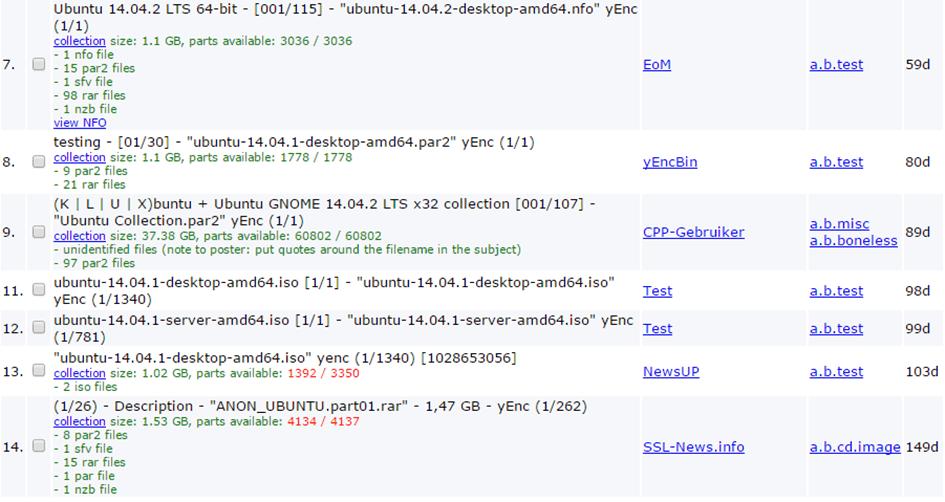 binsearch Sucheinstellungen